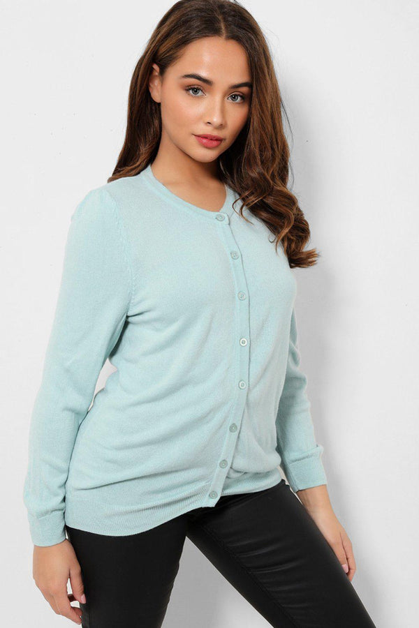 Aqua Button Front Soft Flat Knit Cardigan - SinglePrice