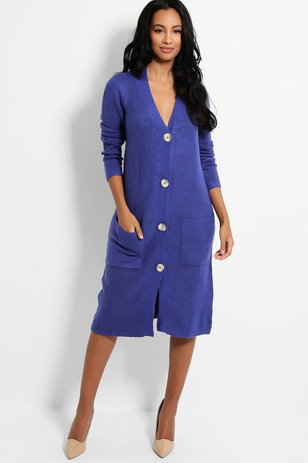 Royal Blue Large Button V-Neck Midi Cardigan - SinglePrice