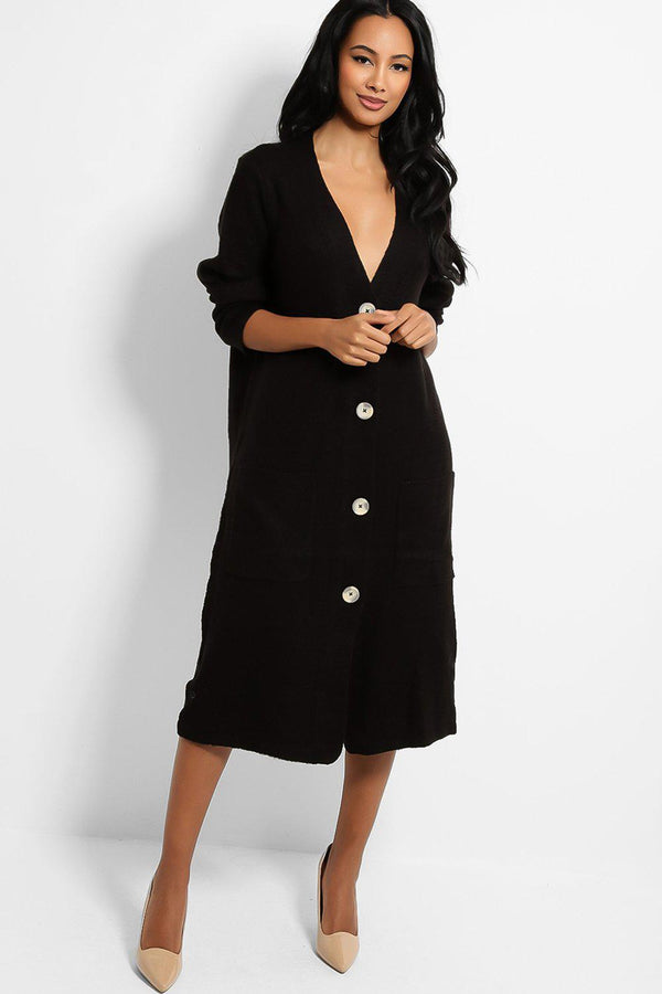 Black Large Button V-Neck Midi Cardigan - SinglePrice
