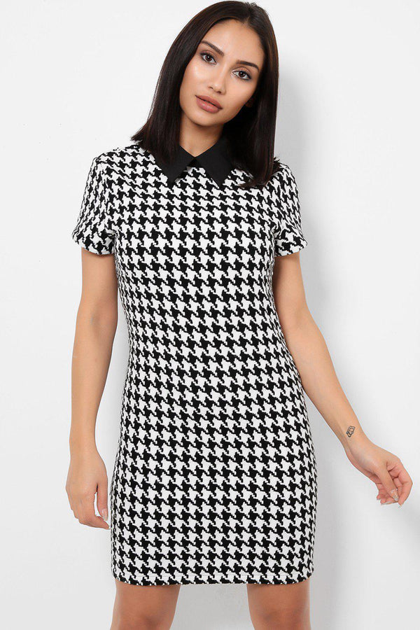 Peter Pan Black And White Dogtooth Print Dress-SinglePrice