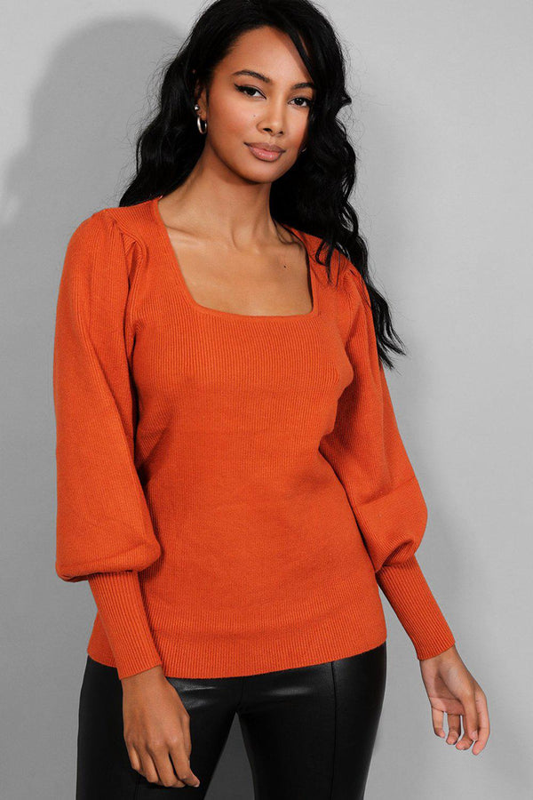 Rust Square Neck Puff Sleeves Rib Knit Pullover