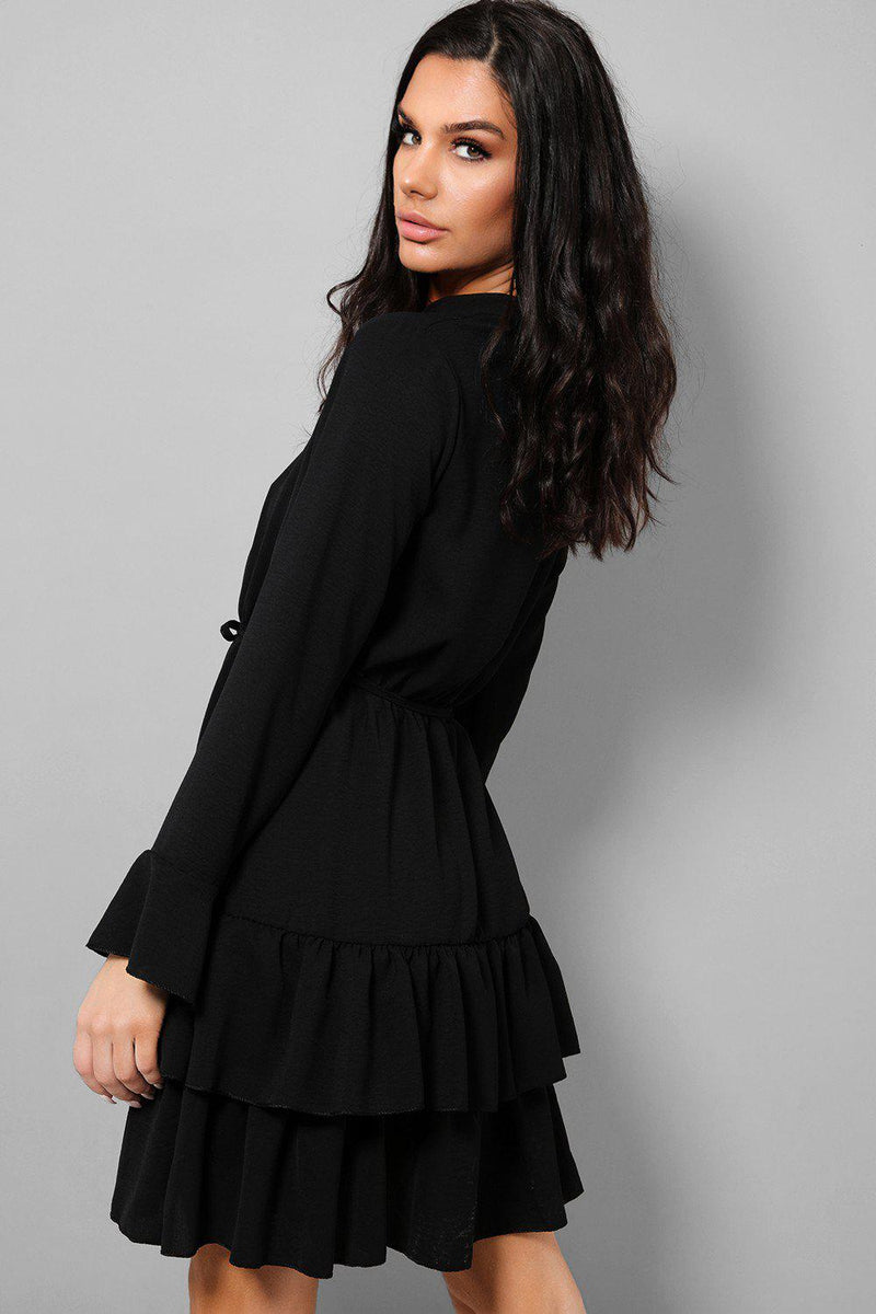 Black Button Front Flute Sleeves Layered Mini Dress - SinglePrice