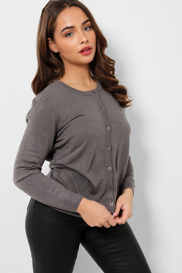 Grey Button Front Soft Flat Knit Cardigan-SinglePrice