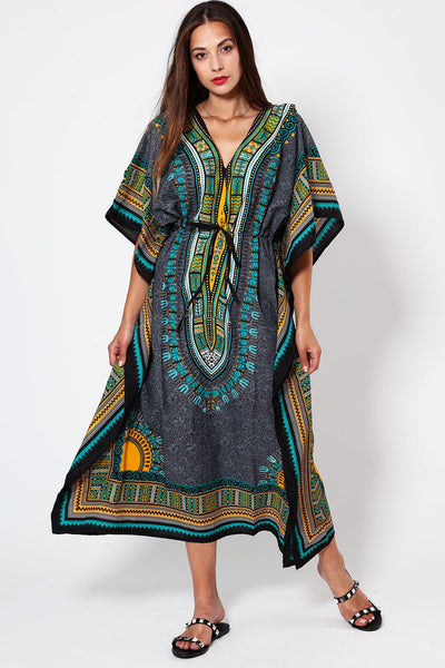 Green Printed Drawstring Cotton Maxi Kaftan-SinglePrice