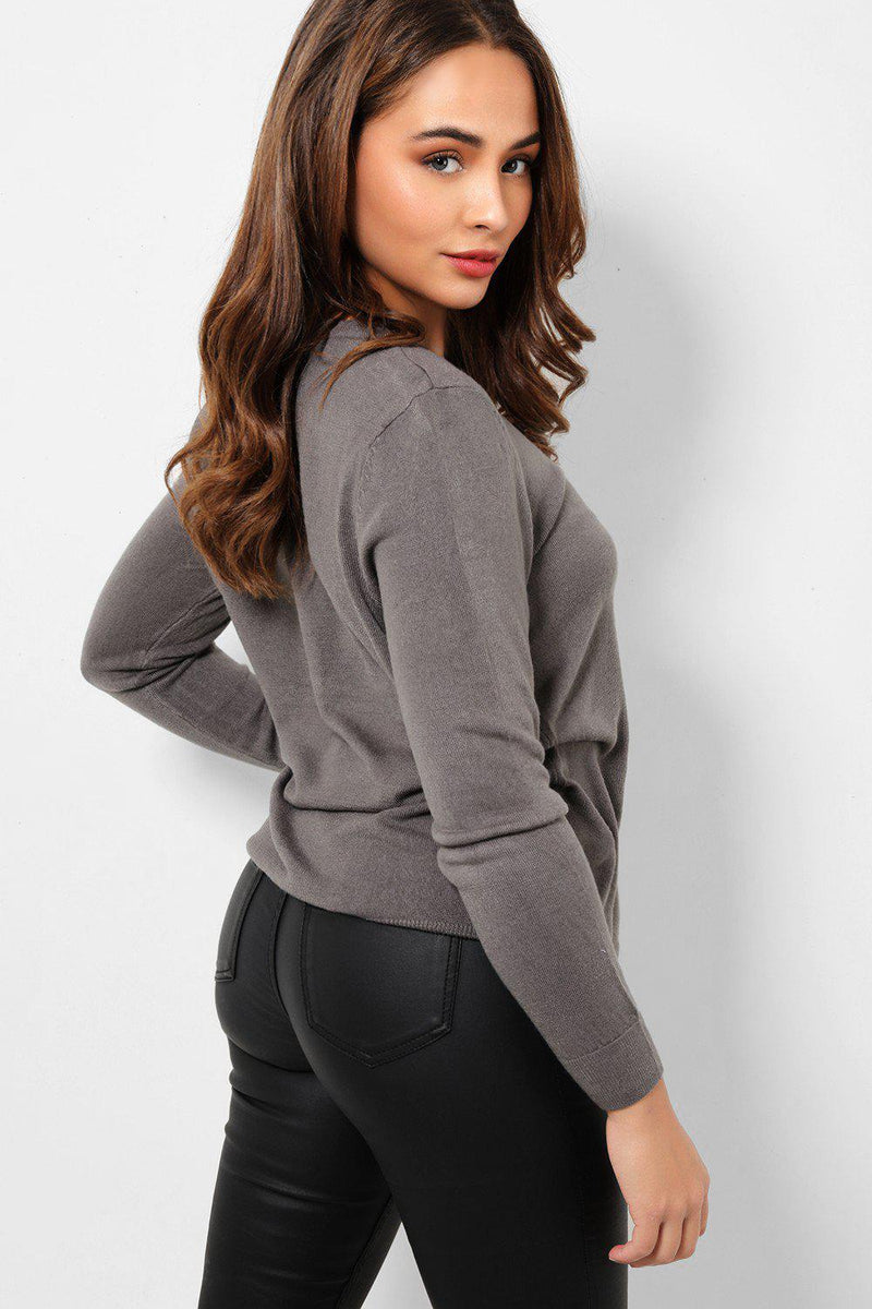 Grey Button Front Soft Flat Knit Cardigan - SinglePrice