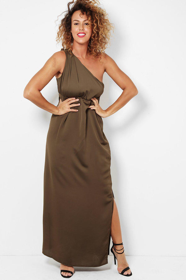 Side Leg Split One Shoulder Khaki Maxi Dress