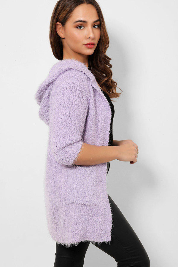 Lilac Soft Knit Hooded Boucle Cardigan-SinglePrice