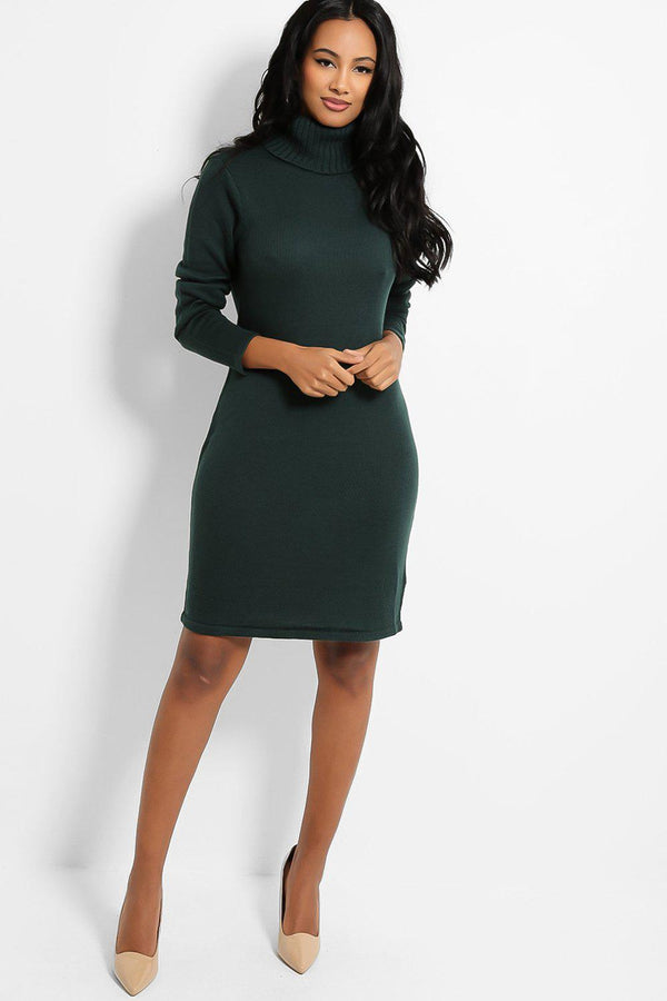 Green Ribbed Turtleneck Flat Knit Jumper Dress - SinglePrice