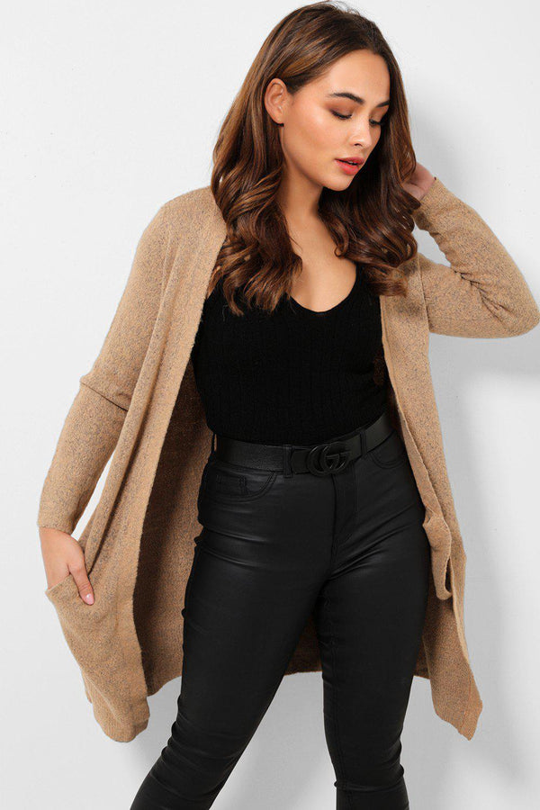 Beige Soft Knit Side Pockets Midi Cardigan