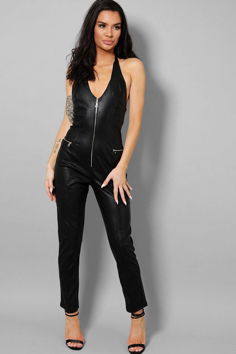 Black Vegan Leather Open Back Catsuit - SinglePrice