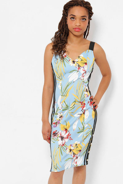 Blue Floral Print Side Poppers Dress-SinglePrice