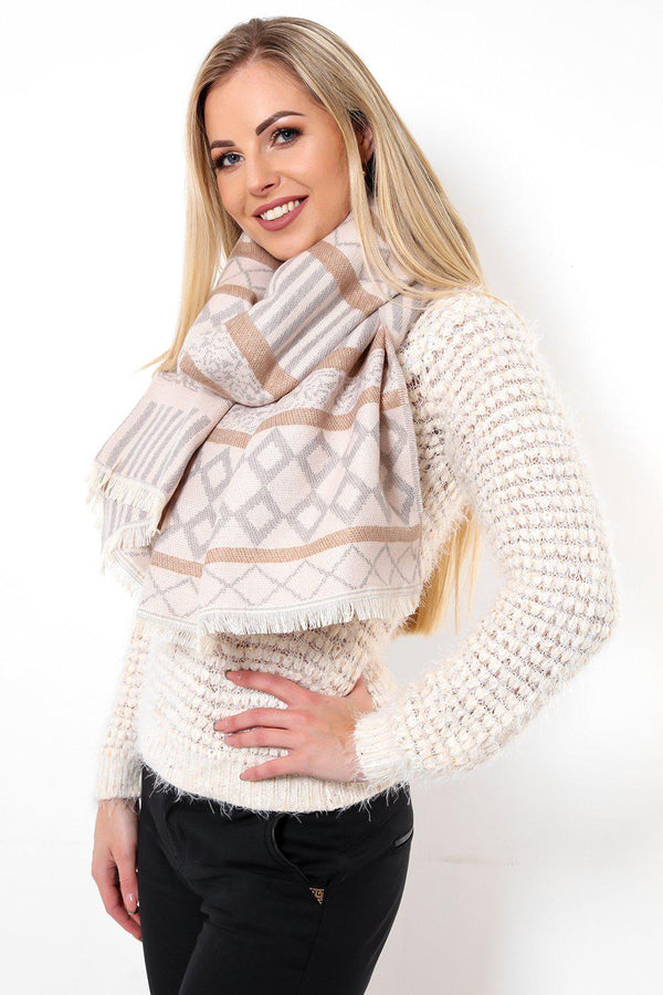 Mixed Geometrical Print Pink Winter Scarf - SinglePrice