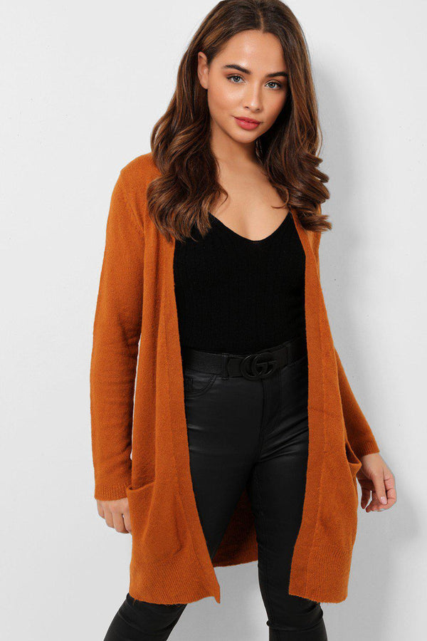 Rust Soft Knit Side Pockets Midi Cardigan