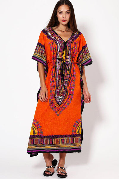 Orange Printed Drawstring Cotton Maxi Kaftan-SinglePrice