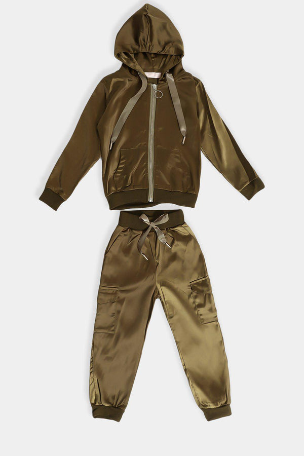 Army Green Satin Kids Tracksuit - SinglePrice