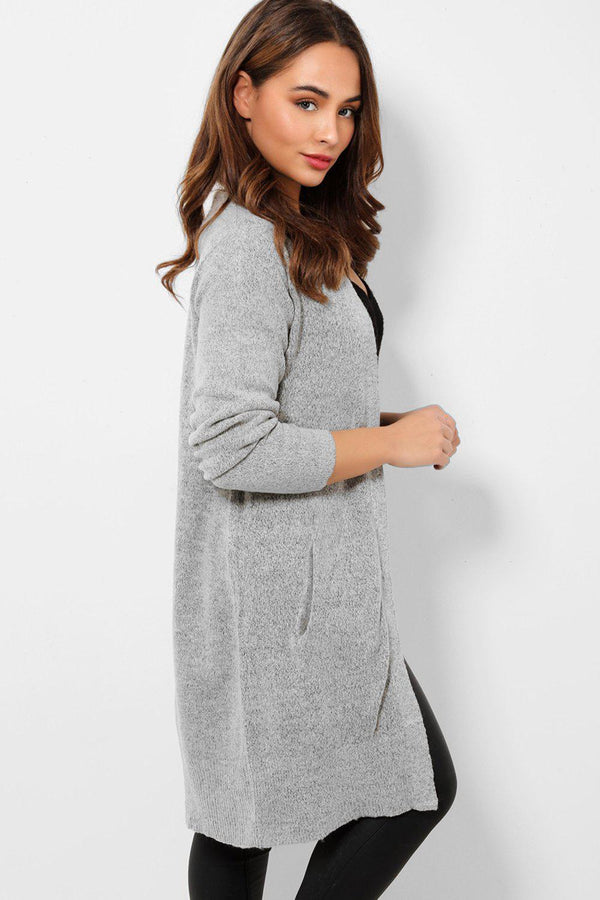 Grey Soft Knit Side Pockets Midi Cardigan