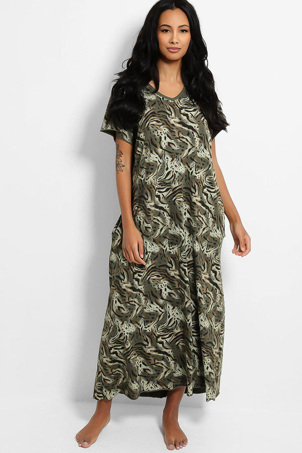 Khaki Animal Print Cotton Blend Maxi Lounge Dress - SinglePrice