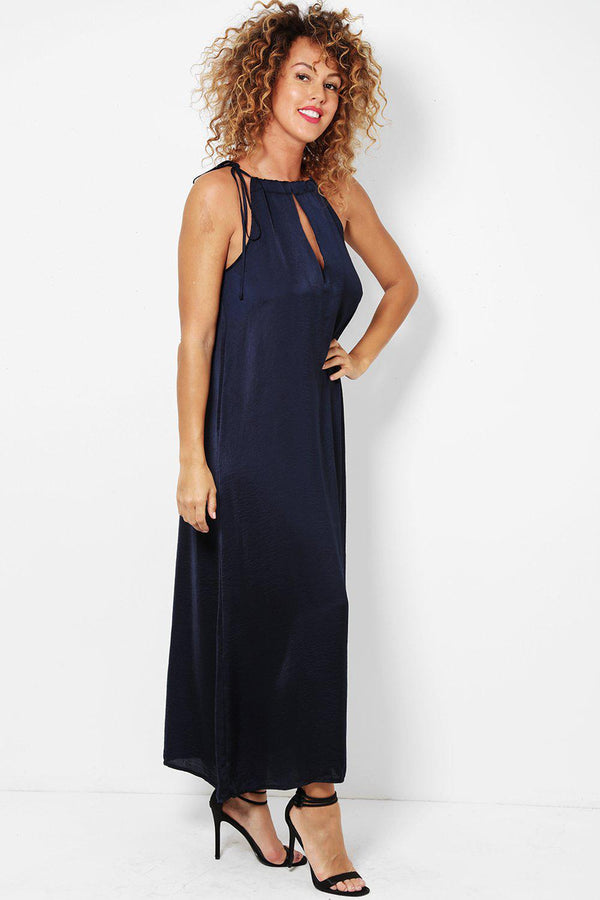 Navy Crushed Satin Keyhole Front maxi Dress-SinglePrice