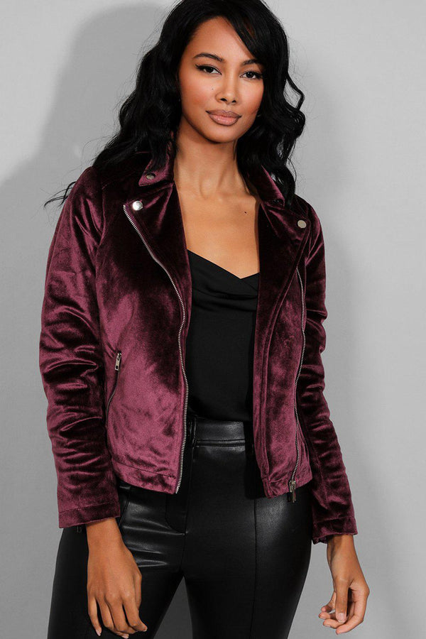 Purple Velour Biker Jacket