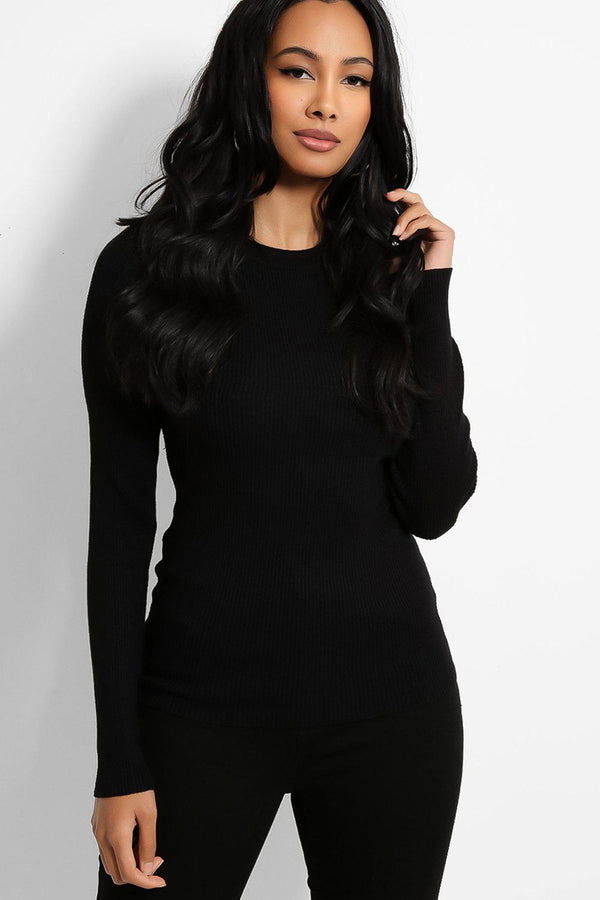 Black Classic Round Neck Rib Knit Pullover - SinglePrice