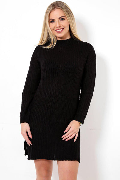 High Neck Black Jumper Dress-SinglePrice