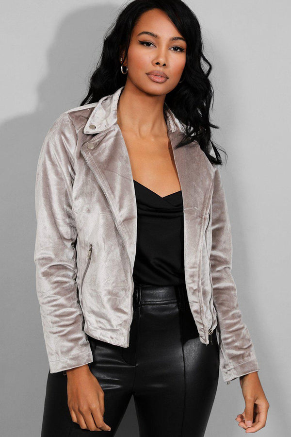 Grey Velour Biker Jacket-SinglePrice