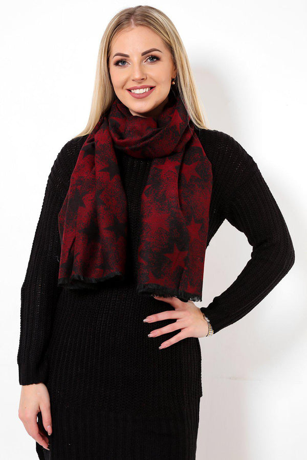 Dark Red Star Print Long Soft Scarf - SinglePrice