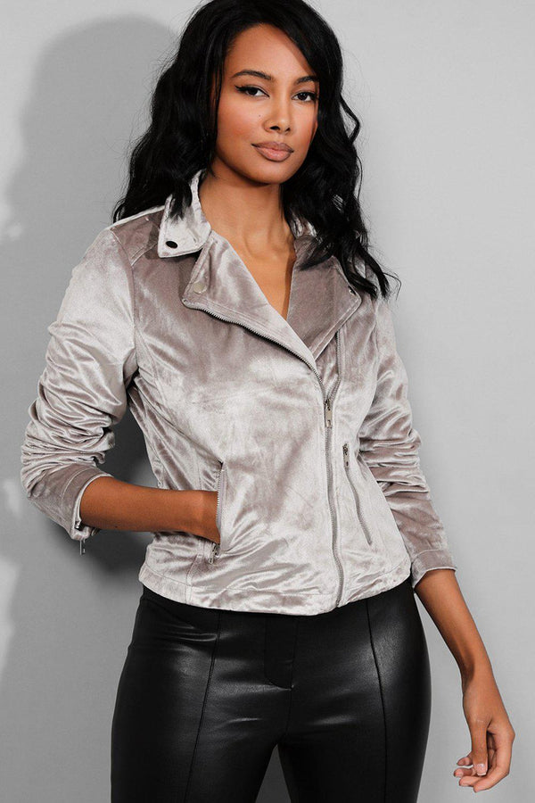 Grey Velour Biker Jacket