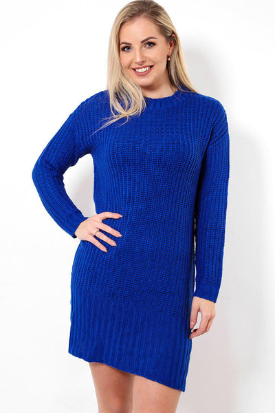 High Neck Navy Jumper Dress-SinglePrice