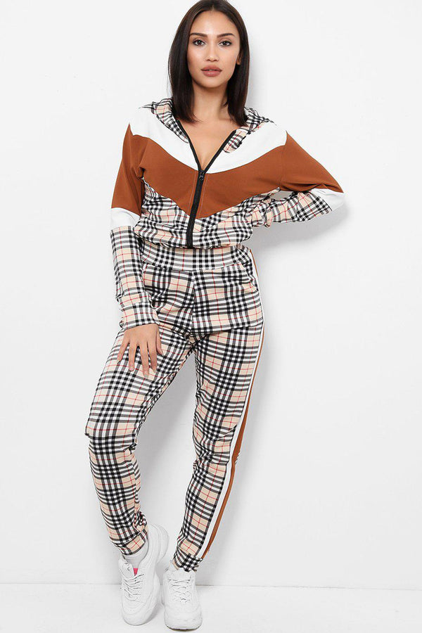 White Brown Colour Block Checked 2 Piece Tracksuit-SinglePrice