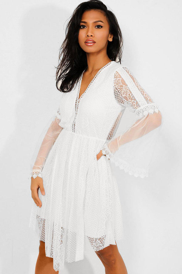 White Lace And Mesh Overlay Draped Front Dress - SinglePrice