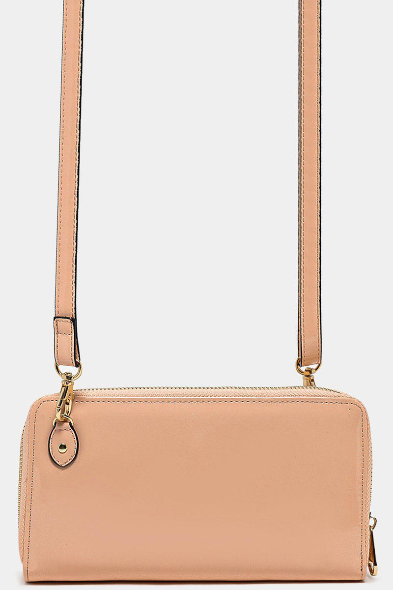 Front Layered Bow Detail Beige Patent Mini Crossbody Bag - SinglePrice