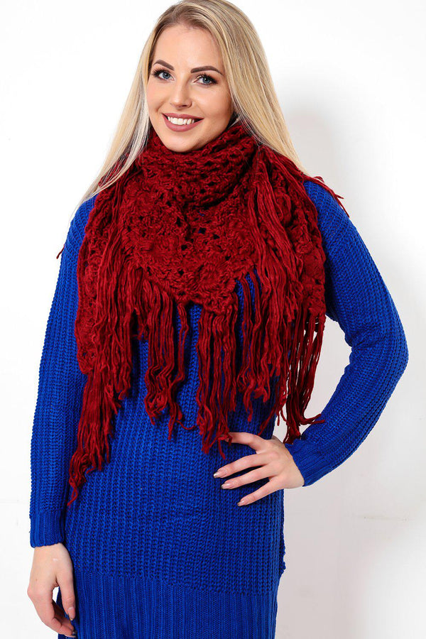Long Fringe Crochet Knit Dark Red Scarf - SinglePrice