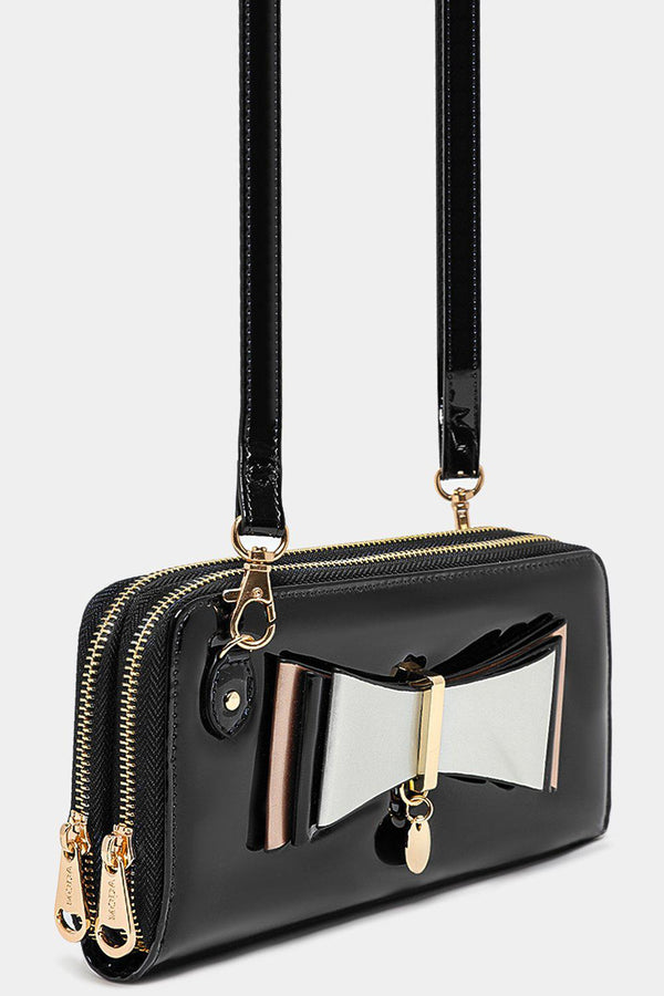 Front Layered Bow Detail Black Patent Mini Crossbody Bag - SinglePrice
