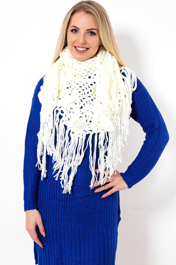 Long Fringe Crochet Knit White Scarf - SinglePrice