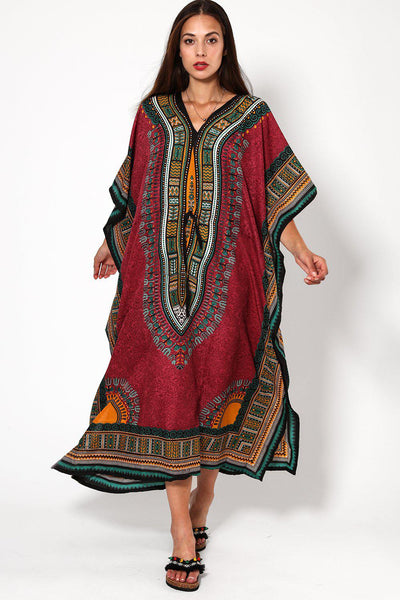 Dark Purple Printed Drawstring Cotton Maxi Kaftan-SinglePrice