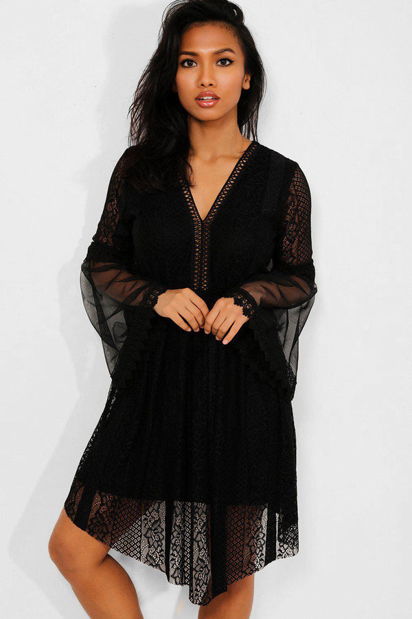 Black Lace And Mesh Overlay Draped Front Dress - SinglePrice