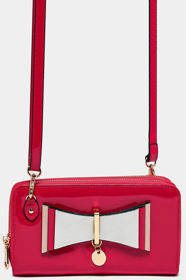 Front Layered Bow Detail Fuchsia Patent Mini Crossbody Bag - SinglePrice