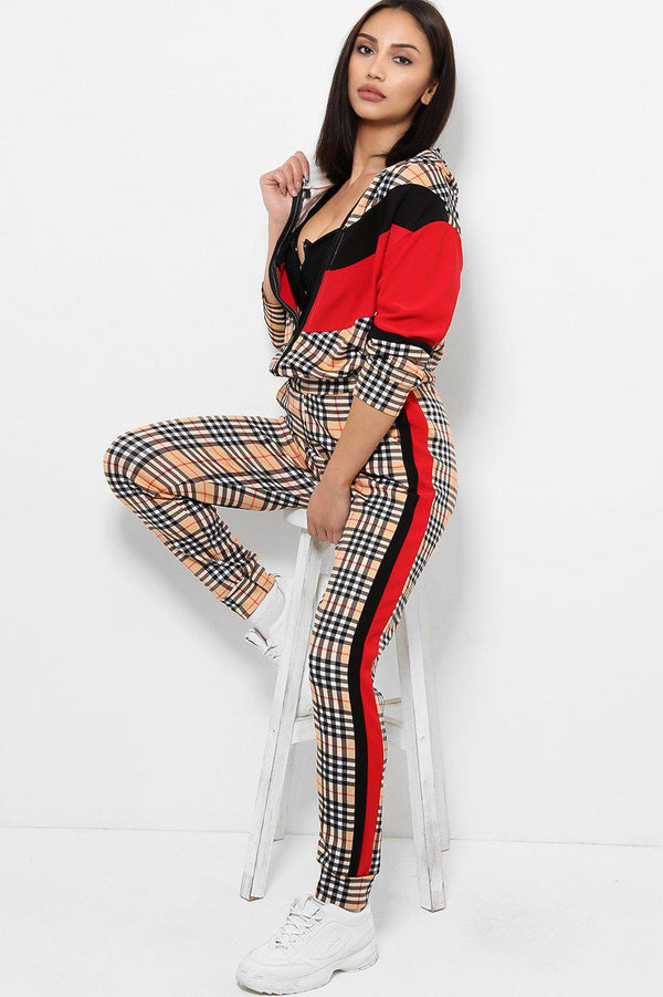 Black Red Colour Block Checked 2 Piece Tracksuit-SinglePrice