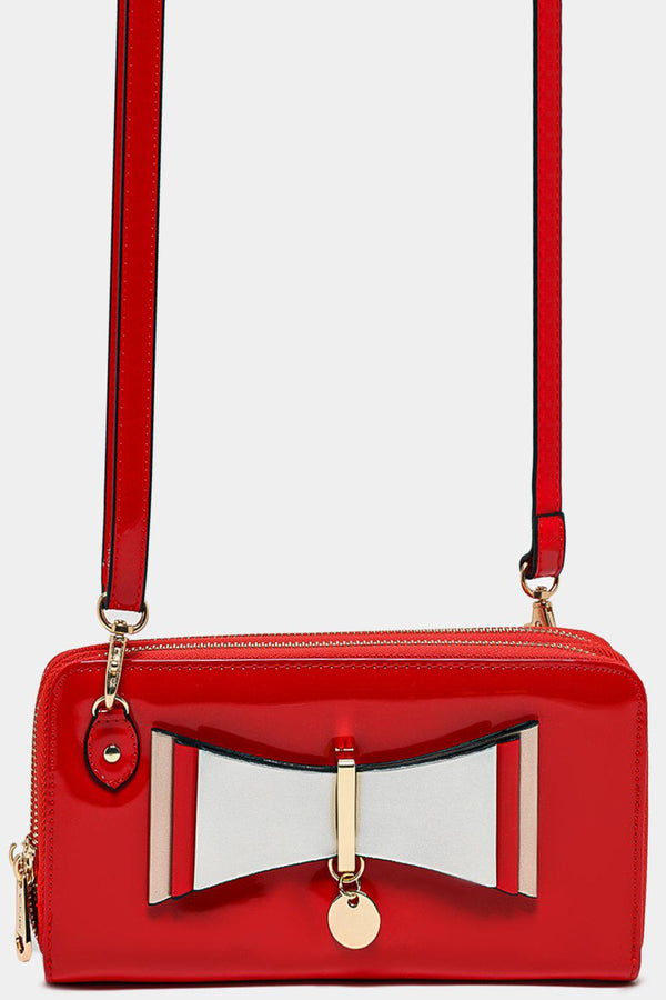 Front Layered Bow Detail Red Patent Mini Crossbody Bag - SinglePrice