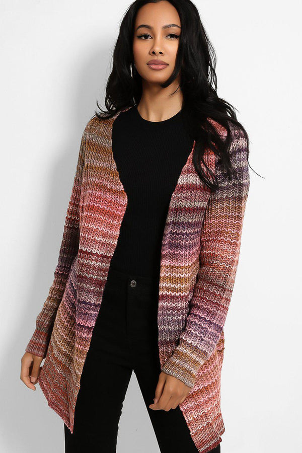 Pink Purple Mixed Yarn Knit Open Front Cardigan - SinglePrice