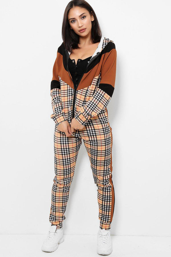 Black Brown Colour Block Checked 2 Piece Tracksuit-SinglePrice