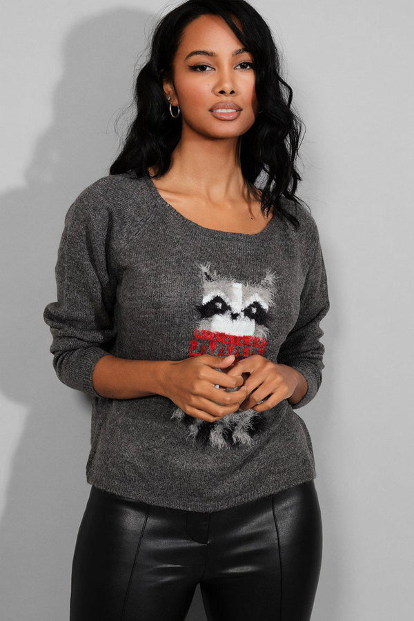 Ash Grey Racoon Print Soft Knit Pullover - SinglePrice