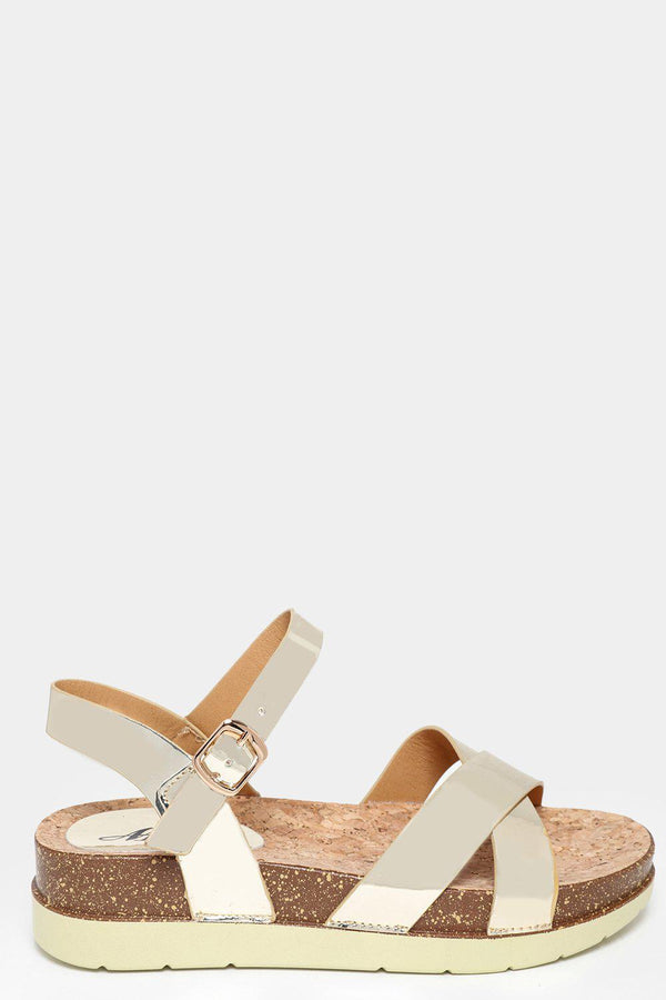 Cork Platform Gold Metallic Sandals-SinglePrice