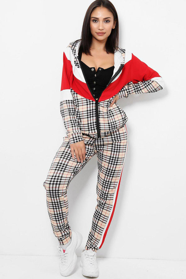 White Red Colour Block Checked 2 Piece Tracksuit-SinglePrice