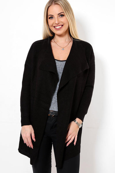 Black Mid Length Waterfall Cardigan-SinglePrice