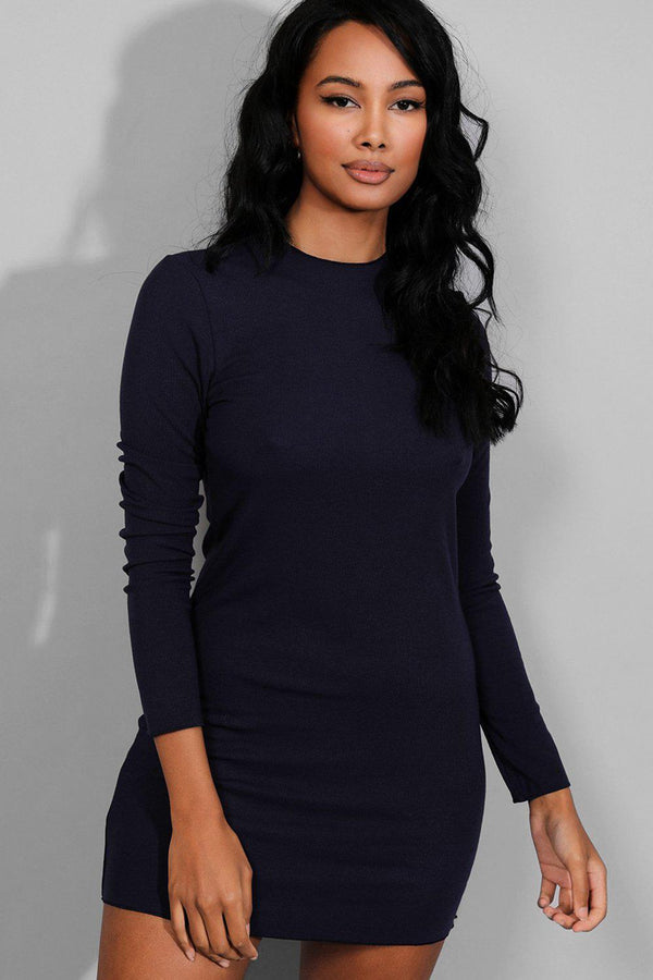 Navy Stretchy Ribbed Mini Dress