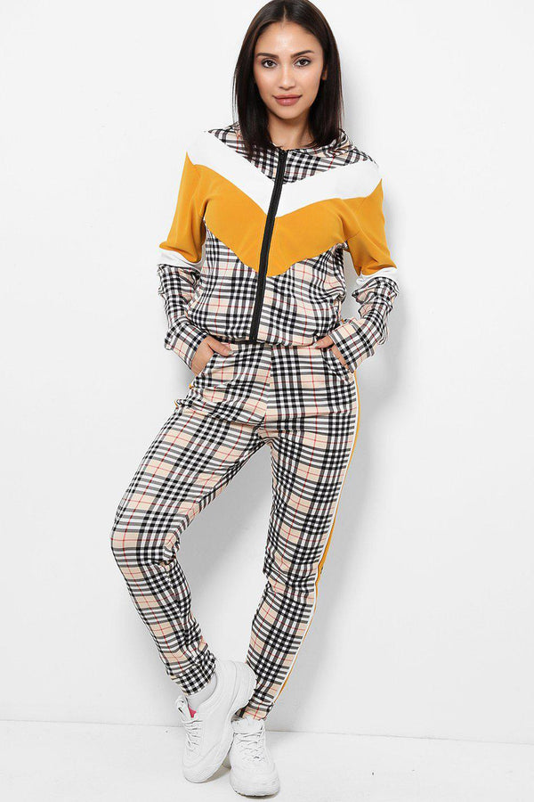 White Yellow Colour Block Checked 2 Piece Tracksuit - SinglePrice