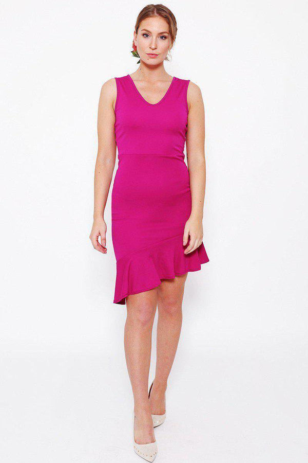 Purple Frill Hem Sleeveless Dress-SinglePrice
