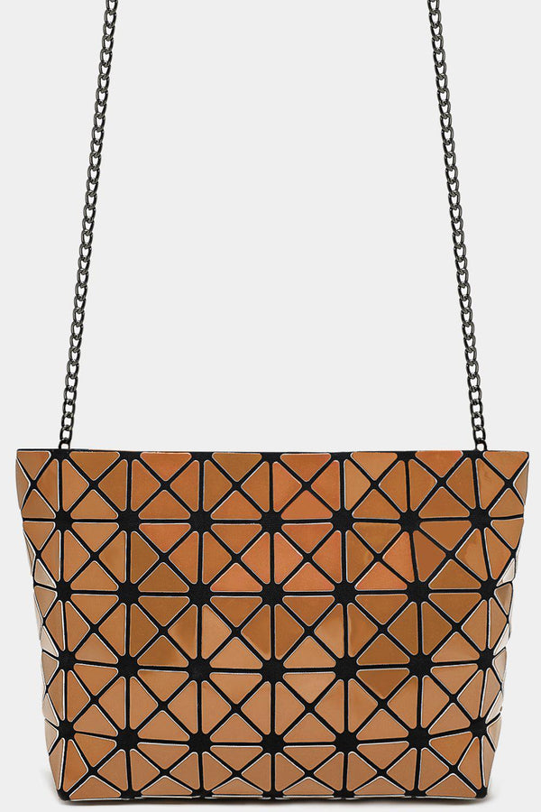 Gold Geometric Quilted Rhombus Shoulder Bag - SinglePrice